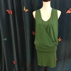 NAKED ZEBRA Boho Emerald Green Draped Knit Dress M